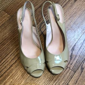 """Shoes - Dressy 4"""" high beige patent blue soled shoes"""